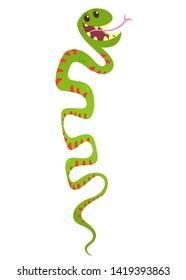 Cute funny snake vector cartoon. Snake illustration. Flat design