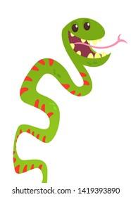 Cute funny snake vector cartoon. Snake illustration