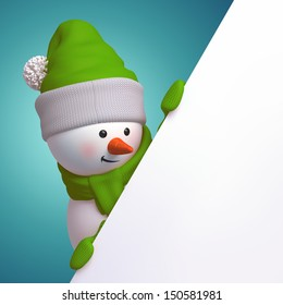 cute funny snowman, 3d character holding blank page, hiding behind the corner