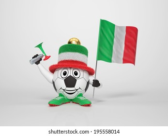 A cute and funny soccer character holding the national flag of Italy and a horn dressed in the colors of Italy on bright background supporting his team