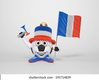 A cute and funny soccer character holding the national flag of France and a horn dressed in the colors of France on bright background supporting his team