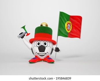 A cute and funny soccer character holding the national flag of Portugal and a horn dressed in the colors of Portugal on bright background supporting his team