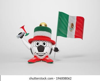 A cute and funny soccer character holding the national flag of Mexico and a horn dressed in the colors of Mexico on bright background supporting his team