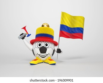 A cute and funny soccer character holding the national flag of Colombia and a horn dressed in the colors of Colombia on bright background supporting his team