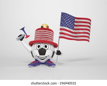 A cute and funny soccer character holding the national flag of the United States and a horn dressed in the colors of the United States on bright background supporting his team