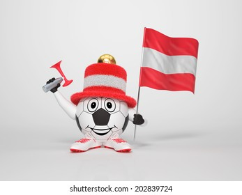 A cute and funny soccer character holding the national flag of Austria and a horn dressed in the colors of Austria on bright background supporting his team