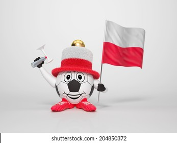 A cute and funny soccer character holding the national flag of Poland and a horn dressed in the colors of Poland on bright background supporting his team
