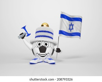 A cute and funny soccer character holding the national flag of Israel and a horn dressed in the colors of Israel on bright background supporting his team