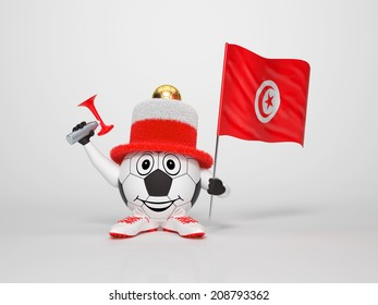 A cute and funny soccer character holding the national flag of Tunisia and a horn dressed in the colors of Tunisia on bright background supporting his team