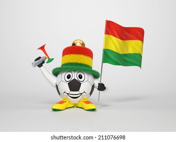 A cute and funny soccer character holding the national flag of Bolivia and a horn dressed in the colors of Bolivia on bright background supporting his team