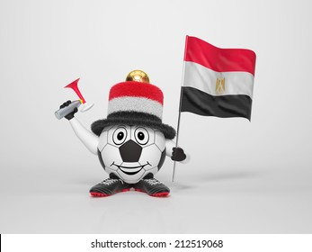 A cute and funny soccer character holding the national flag of Egypt and a horn dressed in the colors of Egypt on bright background supporting his team