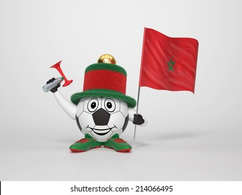 A cute and funny soccer character holding the national flag of Morocco and a horn dressed in the colors of Morocco on bright background supporting his team