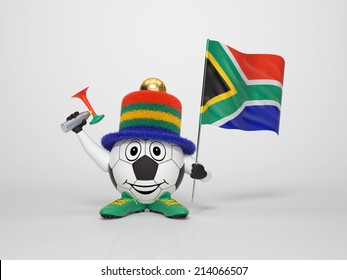 A cute and funny soccer character holding the national flag of South Africa and a horn dressed in the colors of South Africa on bright background supporting his team