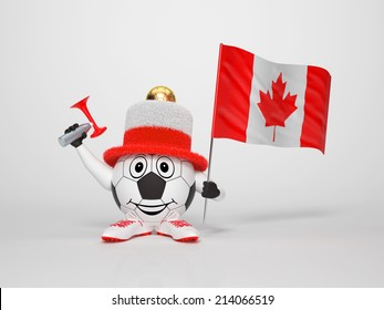 A cute and funny soccer character holding the national flag of Canada and a horn dressed in the colors of Canada on bright background supporting his team