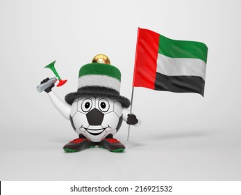 A cute and funny soccer character holding the national flag of United Arab Emirates and a horn dressed in the colors of United Arab Emirates on bright background supporting his team