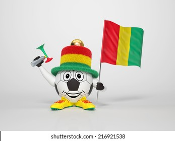 A cute and funny soccer character holding the national flag of Guinea and a horn dressed in the colors of Guinea on bright background supporting his team