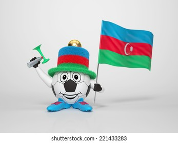 A cute and funny soccer character holding the national flag of Azerbaijan and a horn dressed in the colors of Azerbaijan on bright background supporting his team