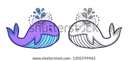Cute Funny Whale Coloring Book Illustration Stock Illustration ...