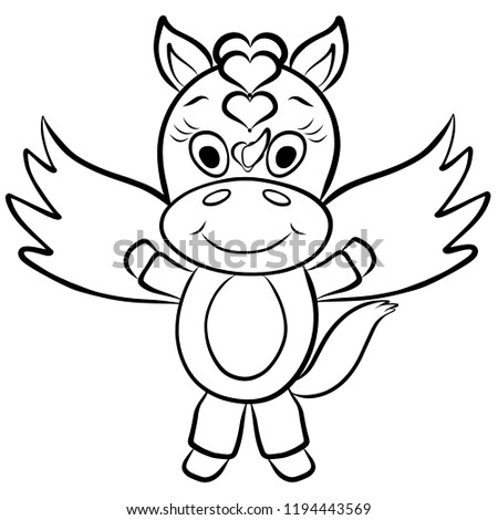 Cute Funny Winged Unicorn Baby Coloring Stockillustration 1194443569 ...