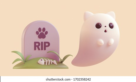 Cute ghost kitty floating in the air near its grave. Rest in peace beloved pet. Cartoon fish bone lies on the grave of cat. Memorial tombstone for pet with cat paw. 3d render on light beige background