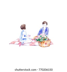 Cute girl and boy on white background. Valentine's Day. Girl and boy on picnic. Love card.