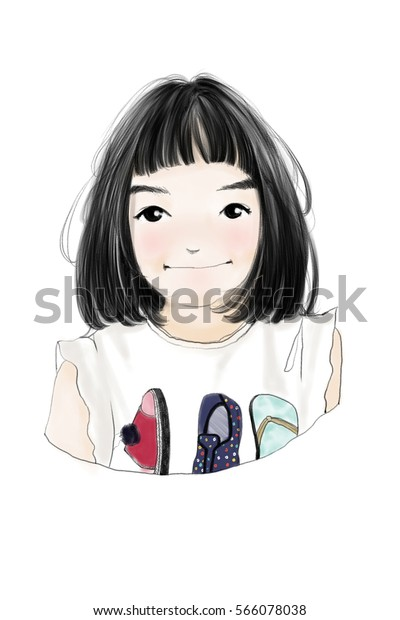 Cute Girl Color Cartoon Character On Stock Illustration 566078038