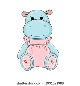 cute girl hippo in a pink dress on a white background