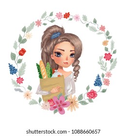 cute girl holding bag of groceries. healthy food eating illustration. hand drawn flower herbal wreath. healthy vegan gluten free organic logo for local store, greeting cards, brand identity, packaging