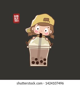 Cute girl hugging a glass of big buble tea and drinking it. Buble tea vector logo.