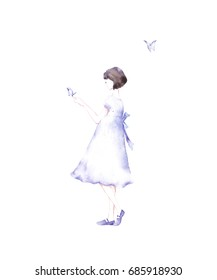Cute girl illustration.Children illustration for School books and more. Girl blowing butterflies. Fashion girl.Princess print