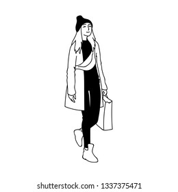 Cute girl with long hair in beanie hat, cloak and sneakers walking. Concept. Monochrome illustration of modern woman with bum bag and shopping package on white background. Hand drawn sketch.