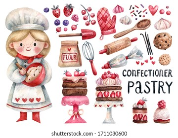 Cute girl pastry chef and collection of cakes, sweets, kitchen items needed in a pastry shop hand-drawn in watercolor and isolated on a white background. Collection of hand-drawn confectionery element