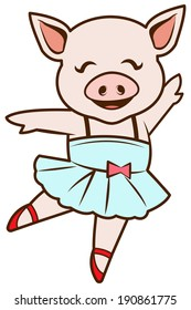 Cute girl pig dancing ballet. Raster