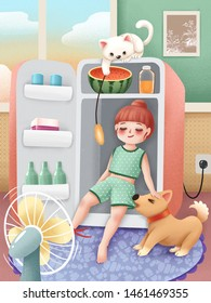 Cute girl sitting in refrigerator and playing with her cat and dog in summer
