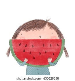Cute girl with watermelon