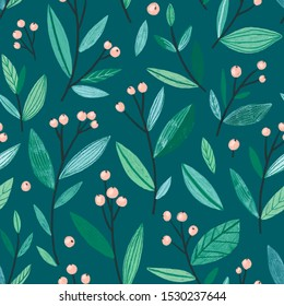 Cute girly seamless pattern - branches with leaves and berry. Botanical repeated design. Green design for fabric or wallpaper.