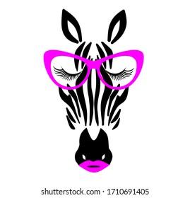 Cute Girly Zebra with Glasses