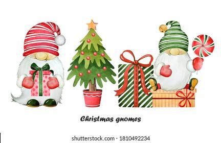 Cute gnomes. Christmas set. Watercolor illustration.