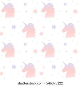 cute gradient unicorn silhouette seamless pattern background illustration