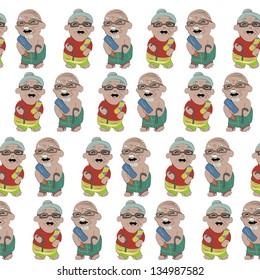 cute granparents  seamless pattern on white background