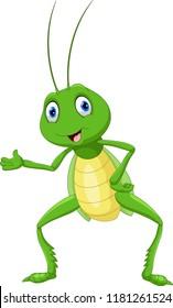 Cute grasshopper presenting