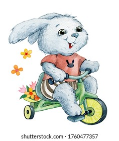 cute gray bunny in a brown t-shirt and striped shorts rides a green bike with a basket of rochy flowers
