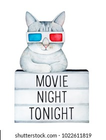 """Cute gray tabby cat wearing classic cardboard 3D eye glasses, resting on light box board with text inscription """"Movie Night Tonight"""". Hand drawn watercolour painting on white background, cut out."""