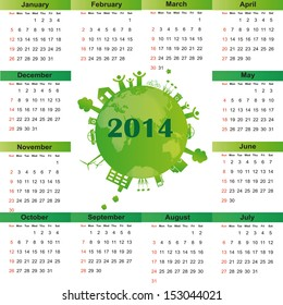 Cute and green calendar on 2014 year
