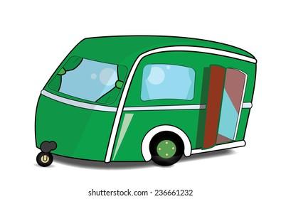Cute green Caravan with its door open.