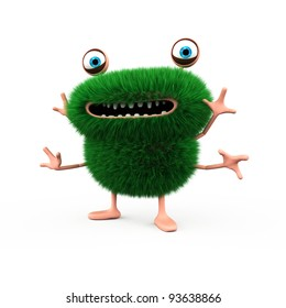 A cute green furry monster with 4 hands en two feet