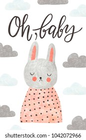 Cute greeting card with rabbit and lettering