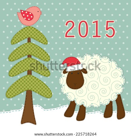 Cute greeting card retro fabric applique stock illustration cute greeting card with retro fabric applique of sheep and fir tree in shabby chic style m4hsunfo