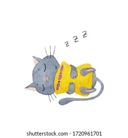 Cute grey cat sleeping with a yellow pillow