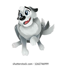 Cute grey puppy sitting and wagging his tail. Top view isolated image